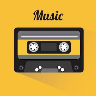 Elementos de música com desiign plana vector illustration