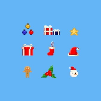 Elementos de natal de pixel