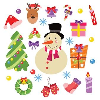 Elementos de natal e decoração cartoon conjunto de vetores