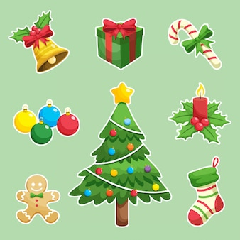 Elementos de natal e ícones de decoração