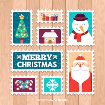 Elementos de natal postar coleção de selos