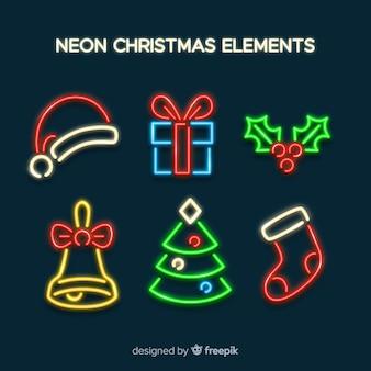 Elementos de natal simples de néon