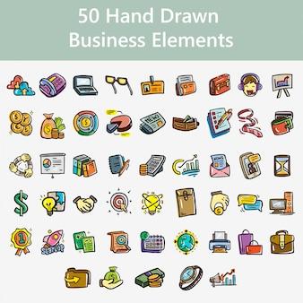 Elementos de negócios de mão desenhada