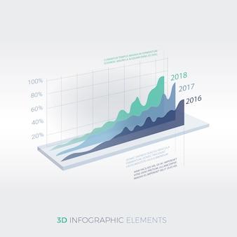 Elementos de negócios modernos 3d infográfico design template
