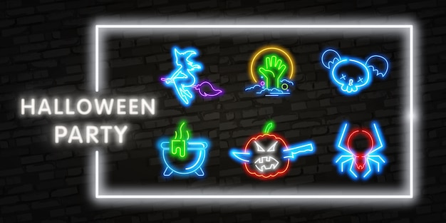 Elementos de néon de halloween
