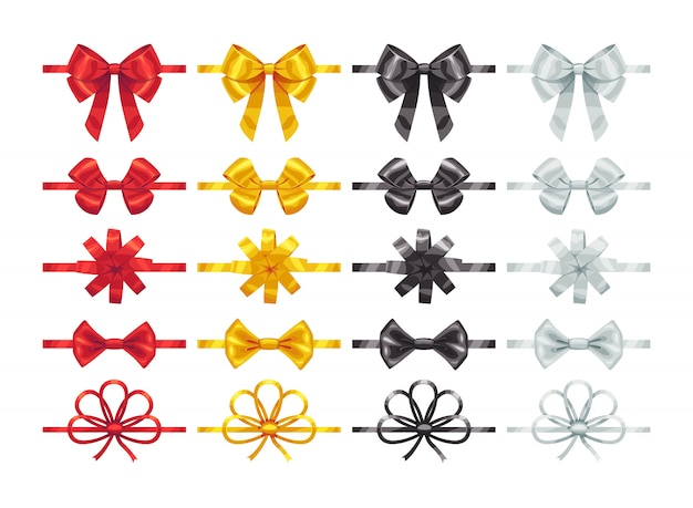Elementos de nós de arco. coleção de peças de decoração de arcos coloridos.