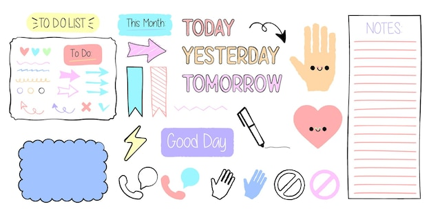 Elementos de nota de diário fofos doodles desenhados à mão, marcadores de jornal, banners de diário premium vector