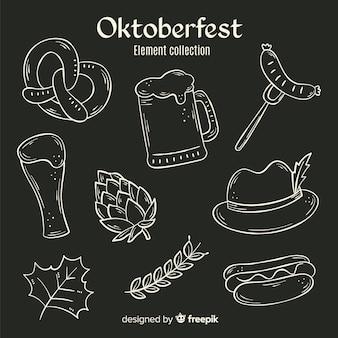 Elementos de oktoberfest desenhados a mão
