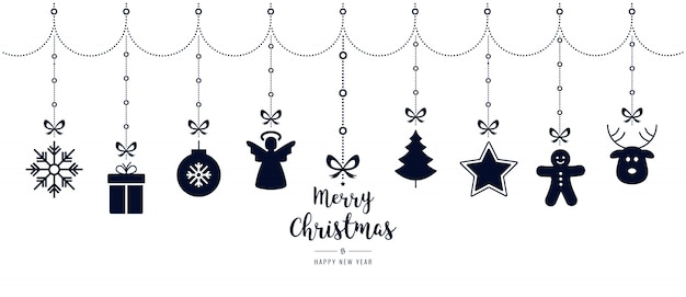 Elementos de ornamento de natal que penduram fundo branco isolado