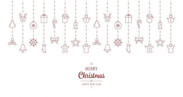 Elementos de ornamento de natal que penduram fundo branco vermelho