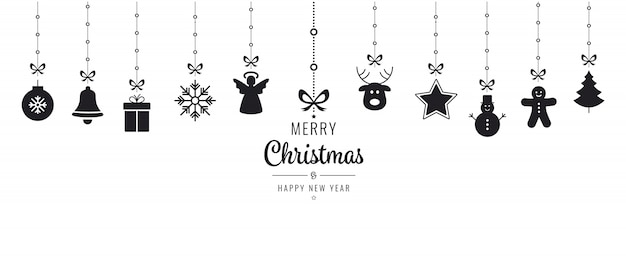 Elementos de ornamento de natal que penduram fundo isolado preto