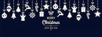 Elementos de ornamento de saudações de Natal fundo de suspensão