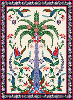 Elementos de ornamento turco e árabe, como palm, flores e paisley. Vetor Premium