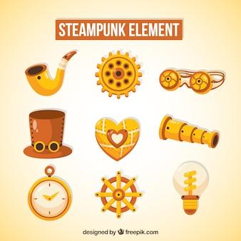 Elementos de ouro de steampunk