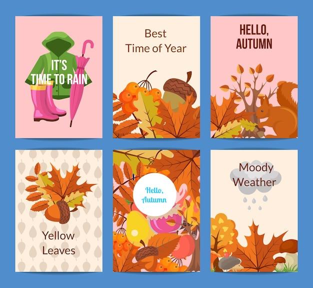Elementos de outono dos desenhos animados e folhas de ilustração de modelo de cartão ou folheto.
