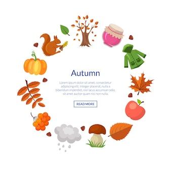 Elementos de outono dos desenhos animados e folhas em conjunto de banner de forma de círculo