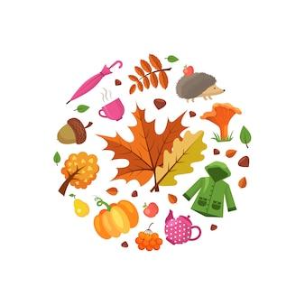 Elementos de outono dos desenhos animados e folhas na ilustração de forma de círculo