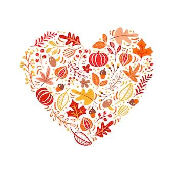 Elementos de outono feitos no amor de coração