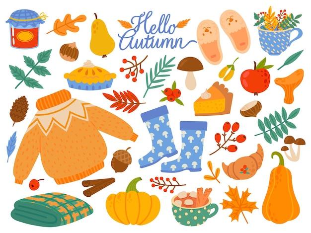 Elementos de outono. folhas caindo, plantas amarelas e alimentos, festival da colheita ou dia de ação de graças conjunto de vetor dos desenhos animados abstratos sazonais. floresta de folhas de outono, ilustração dos desenhos animados dos elementos da estação da natureza