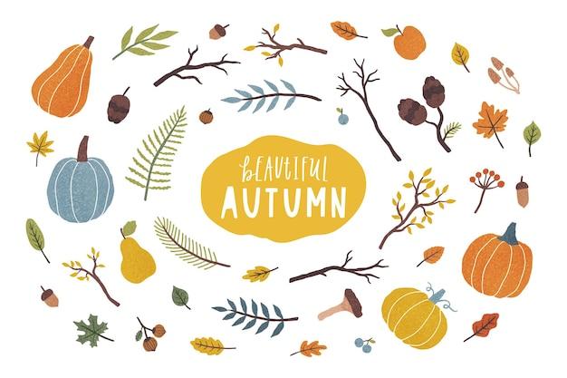 Elementos de outono isolados no branco. ilustração vetorial