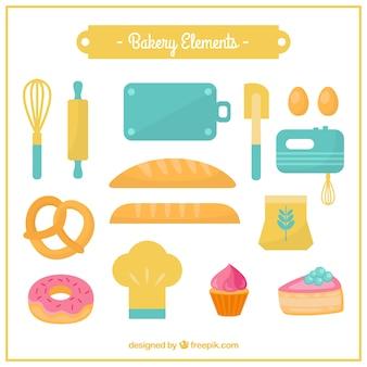 Elementos de padaria coloridos