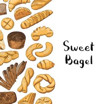Elementos de padaria com lugar para texto