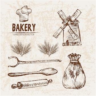 Elementos de padaria desenhados à mão