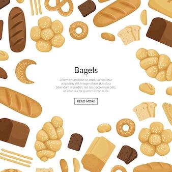 Elementos de padaria dos desenhos animados com ilustração copyspace