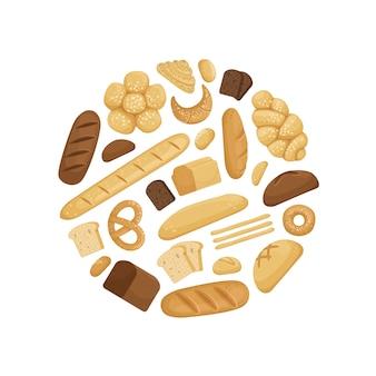 Elementos de padaria dos desenhos animados na ilustração de forma de círculo
