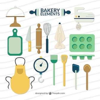 Elementos de padaria planas e acessórios