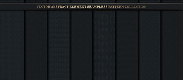 Elementos de padrão abstrato sem costura com preto escuro