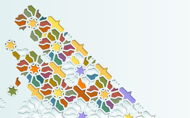 Elementos de padrão islâmico sem costura ornamento de fundo em mosaico ornamental islâmico colorido