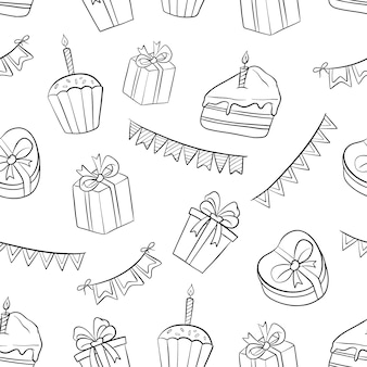 Elementos de padrão sem emenda de aniversário preto e branco com doodle ou estilo mão desenhada