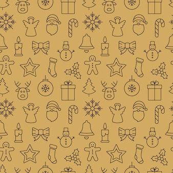 Elementos de padrão sem emenda de ícone de natal fundo dourado