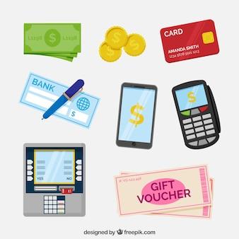 Elementos de pagamento com design plano