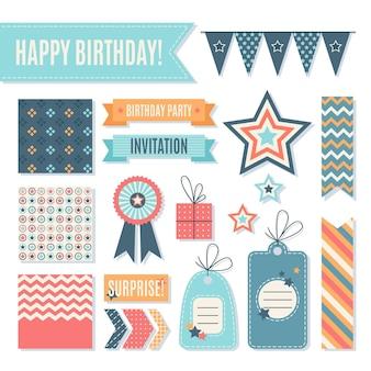 Elementos de página de recados de aniversário festivo
