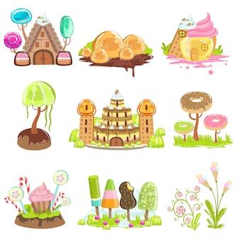 Elementos de paisagem de fantasia feitos de doces e balas