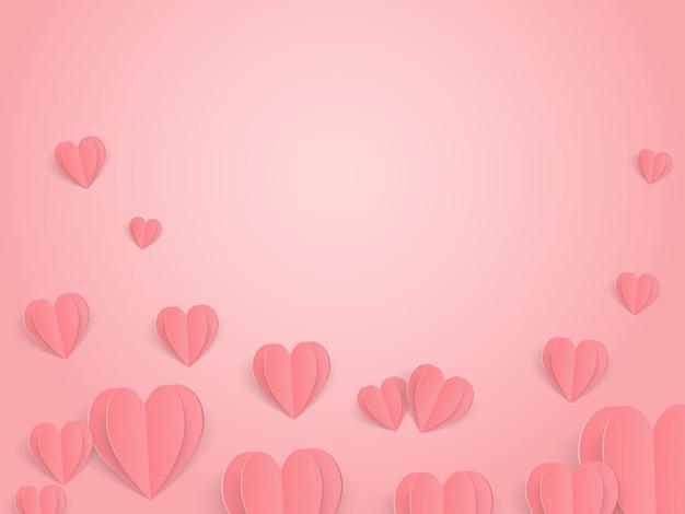 Elementos de papel em forma de coração voando sobre fundo rosa. banner para o dia dos namorados.