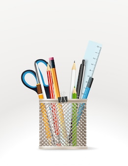 Elementos de papelaria escolar,