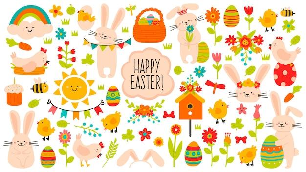 Elementos de páscoa bonitos. decoração fofa de primavera páscoa, ovos, galinhas, flores e coelhos