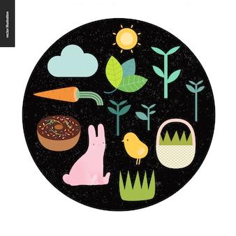 Elementos de páscoa no fundo redondo preto - sol, cenoura, bolo, coelho, frango, cesta, nuvem, plantas e grama
