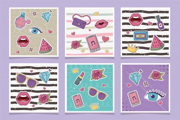 Elementos de patches de moda decoração estilo definido