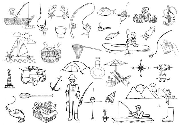 Elementos de pesca desenhados a mão