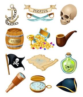 Elementos de piratas para jogos de computador.
