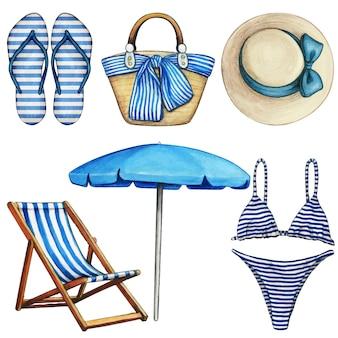 Elementos de praia azul e branco