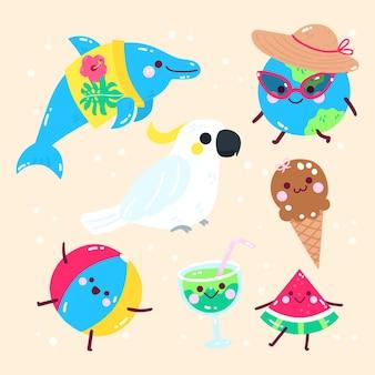 Elementos de praia plana de verão