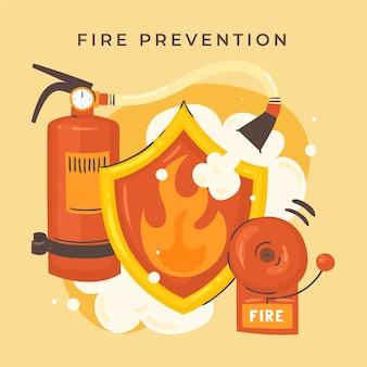Elementos de prevenção de incêndio desenhados à mão