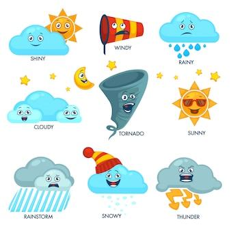 Elementos de previsão do tempo com rostos e sinais definidos