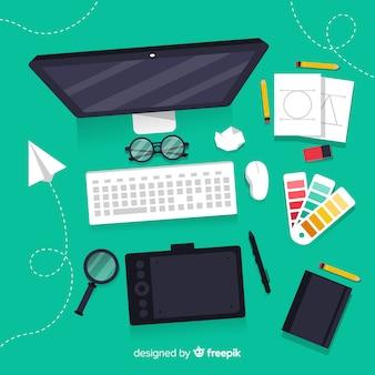 Elementos de processo criativo de design gráfico