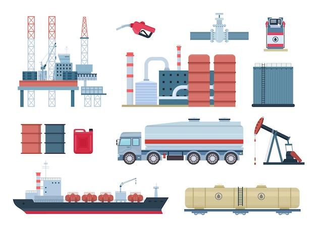 Elementos de produção de petróleo e gás, refinaria e plataforma de perfuração. transporte de combustível, caminhão tanque e navio. conjunto de vetores de plataforma de petróleo. refinaria, planta industrial ou equipamento químico